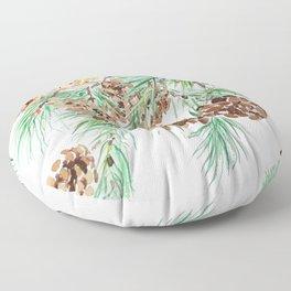 pine cones watercolor Floor Pillow