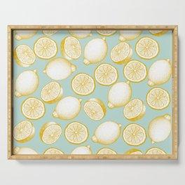 Lemons On Turquoise Background Serving Tray