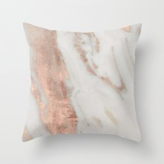 Marble Rose Gold Shimmery Marble Throw Pillow