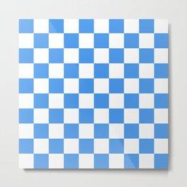 Blue Checkers Pattern Metal Print