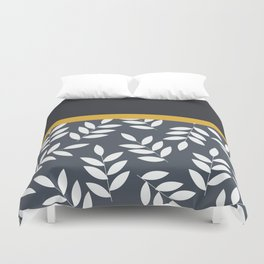 Leaves Pattern in Black Grey nad Yellow Duvet Cover