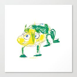 Crazy frog illustration, green frog design, frog pattern for children Canvas Print