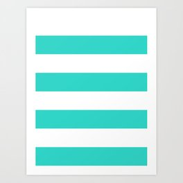 Wide Horizontal Stripes - White and Turquoise Art Print