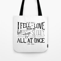 fault in our stars Tote Bags featuring The Fault in our Stars by Chan Xing Yun