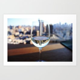 New York City Skyline in Wine Glass Art Print
