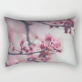 Pink Cherry Blossom On Branch Rectangular Pillow