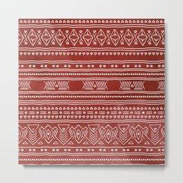 Red Boho Digital Pattern Metal Print