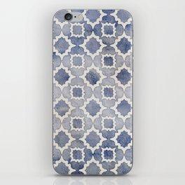 Worn & Faded Navy Denim Moroccan Pattern in grey blue & white iPhone Skin