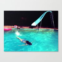 swim Canvas Prints featuring Swim by Katie Troisi