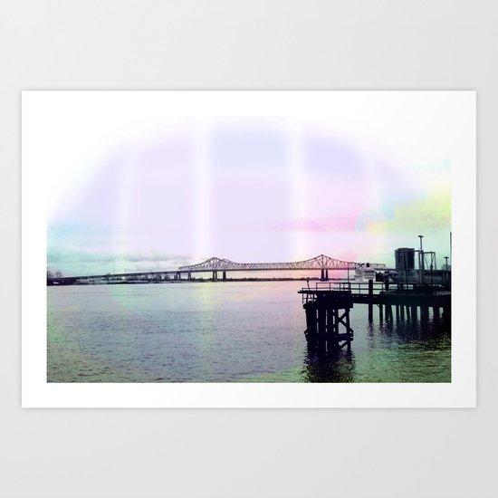 Crescent Connection Bridge with Dock Art Print