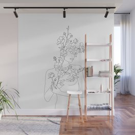 Minimal Line Art Woman with Wild Roses Wall Mural