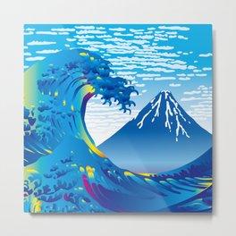 Hokusai Great Wave & Mt. Fuji under the Clear Sky Metal Print