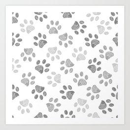 Black and grey paw print pattern Art Print