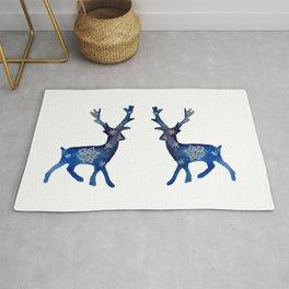 Winter Deer Snowflakes Rug