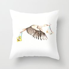 Baby on Bird Throw Pillow