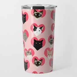 Cat faces love hearts valentines day gifts for cat lovers must have cats Travel Mug