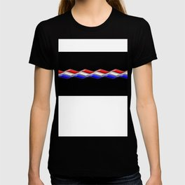 Rectilinear wave ....red,blue white closed. T-shirt