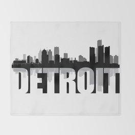 Detroit Silhouette Skyline Throw Blanket