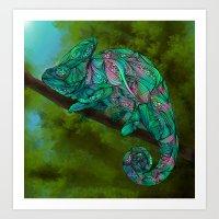 chameleon Art Prints featuring Chameleon by Ben Geiger