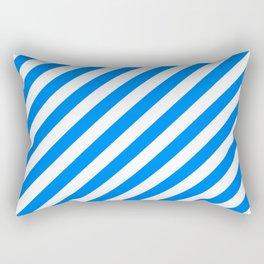 Diagonal Stripes (Azure/White) Rectangular Pillow