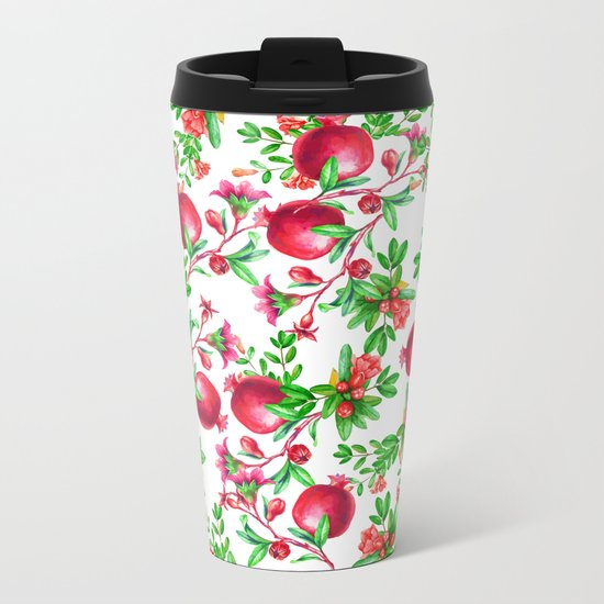 Pomegranate Metal Travel Mug