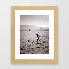 Foot on the beach Framed Art Print