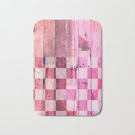 Vintage pink checkered planks Bath Mat