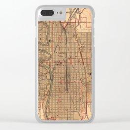 Vintage Map of Wichita Kansas (1943) Clear iPhone Case