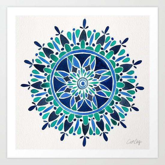 Blue & Turquoise Mandala Art Print