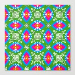 White design on pink, orange, green, and blue pattern Canvas Print