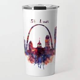 St Louis Watercolor Skyline Travel Mug