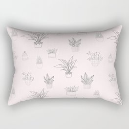 Cute Pink House Plant Pattern Rectangular Pillow