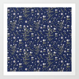 Chamomile Herb - Blue Art Print