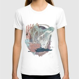 In the Clouds: a minimal mixed media piece in blues, pinks, white, and purple T-shirt