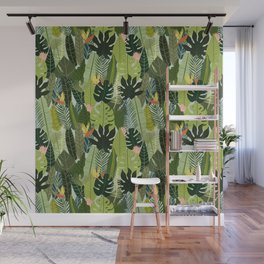 Green On Pattern Wall Mural