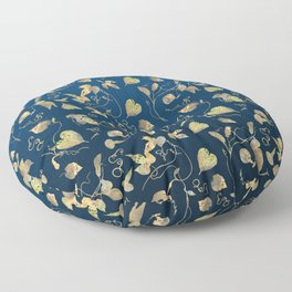 Elegant Gold Floral pattern on classic blue Floor Pillow