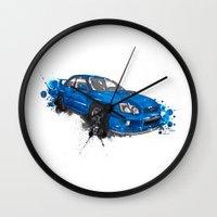 subaru Wall Clocks featuring Subaru Impreza by Claeys Jelle Automotive Artwork
