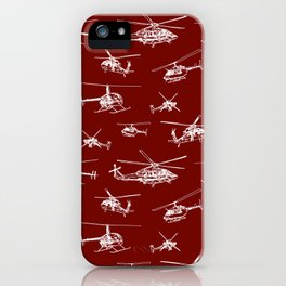 Helicopters on Maroon iPhone Case