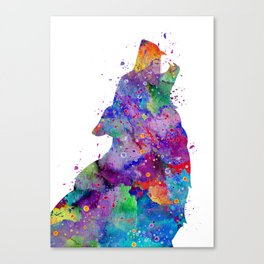 Wolf Art Gift Animals Art Colorful Blue Purple Watercolor Gift Nature Art Canvas Print