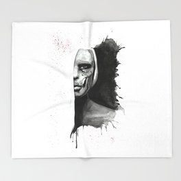 Skull Of Woman Throw Blanket