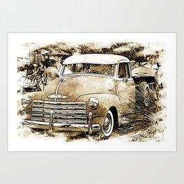 1950's Vintage Chevy Chevrolet Pick up Truck Art Print