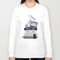 nintendo Long Sleeve T-shirts featuring Nintendo Consoles by Michael Walchalk