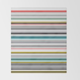 grey and colored stripes Throw Blanket