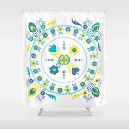Folk Flowers in Yellow and Turquoise Shower Curtain