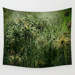 Rainy Green Garden Wall Tapestry