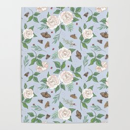Roses, Moths and Ladybirds Poster