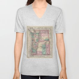 Vintage Map of Washington and Oregon (1875) Unisex V-Neck