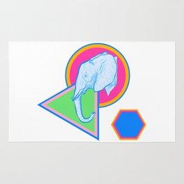 Elephant Illustration on colourful Geometric Print Rug