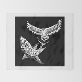 The shark and the eagle back in black Throw Blanket