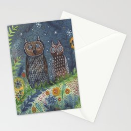 Twit Twoo, owl painting Stationery Cards